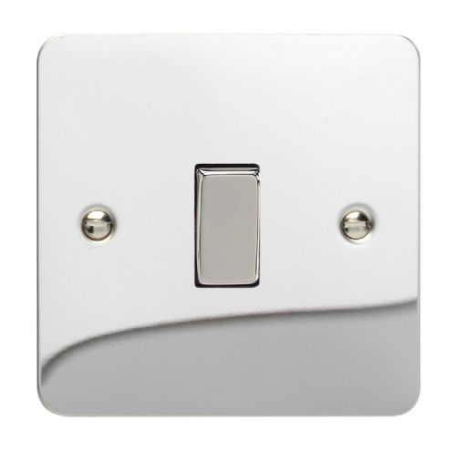 Varilight XFC1D Ultraflat Polished Chrome 1 Gang 10A 1 or 2 Way Rocker Light Switch